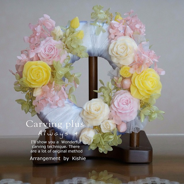 #リース #soap carving arrange http://carvingplus.com/request-of-bouquet/